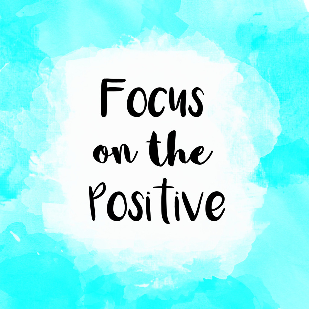 Focus on the positive inspirational message on blue watercolor background