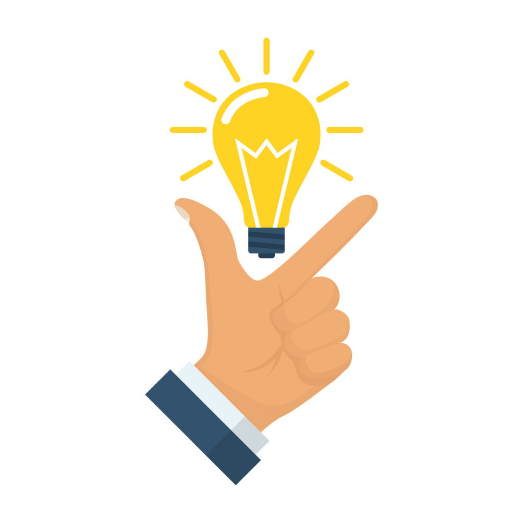 Pointing finger up on bulb as a symbol big idea. Having new creative idea. Problem solution metaphor. Vector illustration flat design. Isolated on background. Thinking processes. Hand gesture Like.