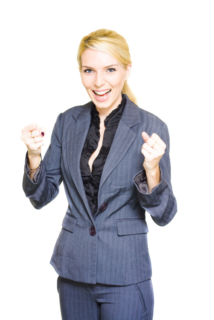 Energetic Enthusiastic Career Driven Worker Pumps Her Fists With Excitement And Joy After A Corporate Win In A Excited Business Woman Concept, Isolated On White
