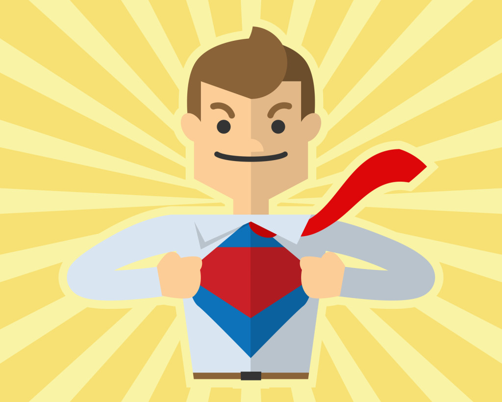 Vector of businessman open his shirt like super hero, superman, showing his confident