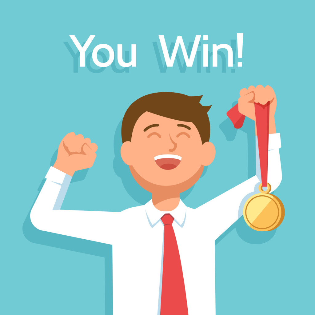 Young happy businessman winner with award champion gold medal celebrates victory and success. Vector illustration you win on blue background